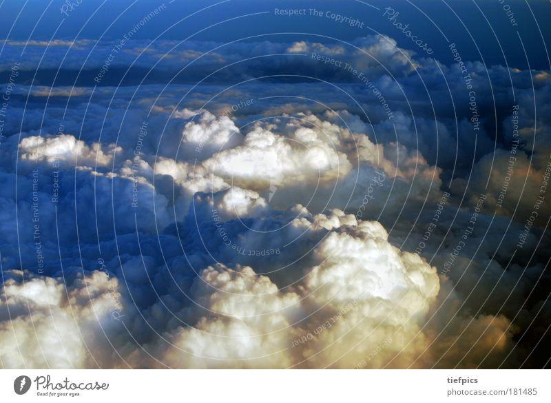 ganz oben. Himmel blau Wolken Tod Glück Luft Wetter fliegen Klima frei Flugzeug Luftverkehr Urelemente Unendlichkeit Glaube Weltall