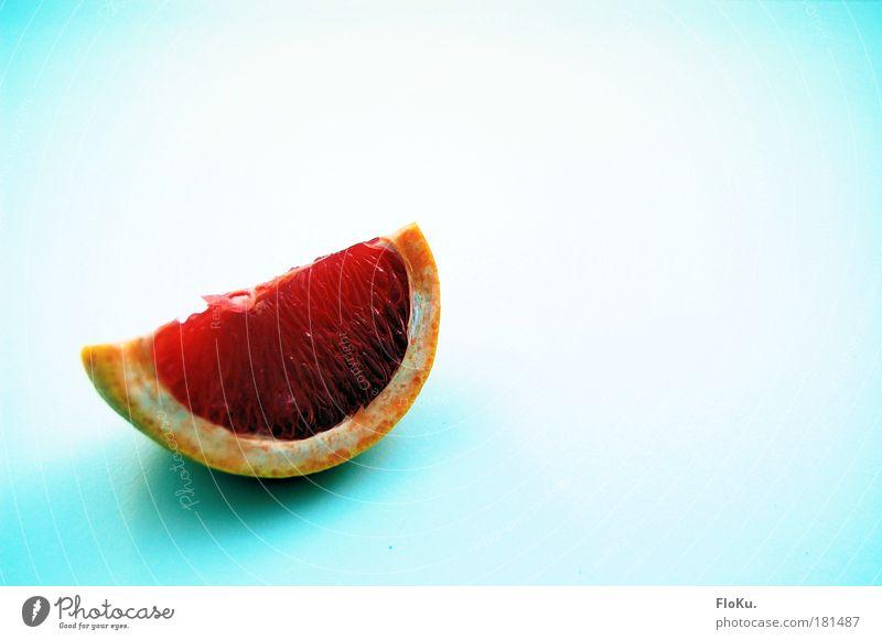 Frühstück II Farbfoto Textfreiraum rechts Textfreiraum oben Lebensmittel Frucht Ernährung Gesundheit lecker sauer blau rosa rot weiß Grapefruit Scheibe