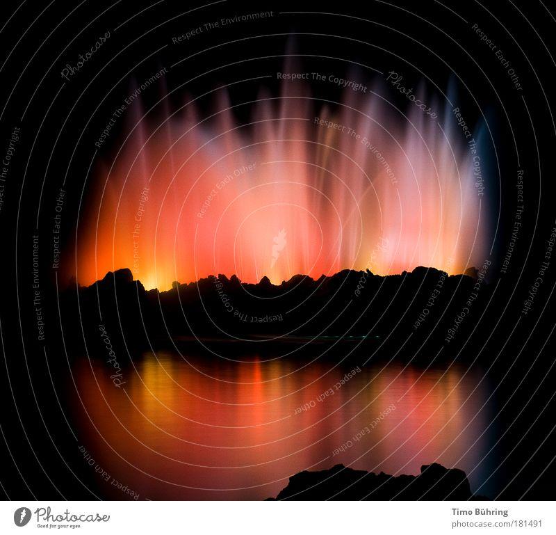 Am Ende des Regenbogens Farbfoto mehrfarbig Außenaufnahme abstrakt Menschenleer Textfreiraum Mitte Hintergrund neutral Nacht Schatten Kontrast