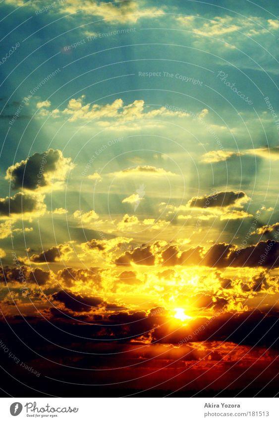 Powerful Shining Himmel Sonne blau rot schwarz Wolken gelb Sonnenaufgang Sonnenuntergang Horizont Warmherzigkeit leuchten Licht