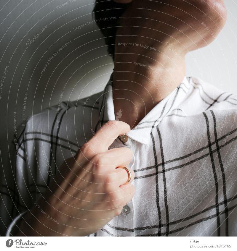 Zeit für ein Mitarbeitergespräch... Mensch Frau Hand Erwachsene Leben Gefühle Angst Kommunizieren Finger Stress eng Scham Hals Nervosität gestikulieren