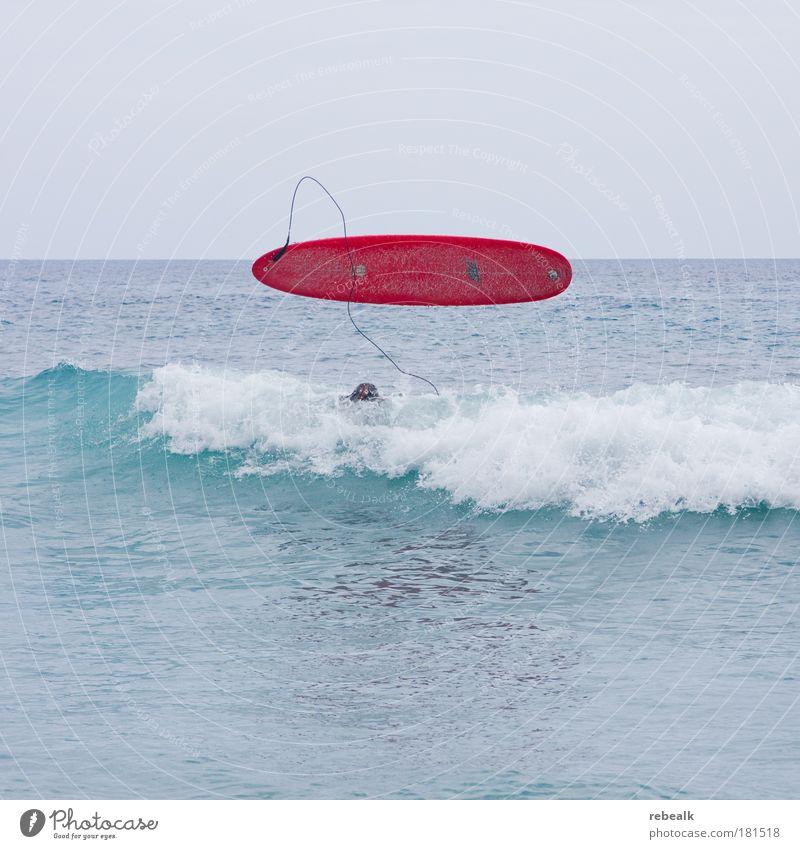 Fehlstart Wasser Meer rot Sommer Ferien & Urlaub & Reisen Sport Haare & Frisuren Kopf Zufriedenheit Wellen Lifestyle gefährlich Tourismus Freizeit & Hobby Surfen anstrengen