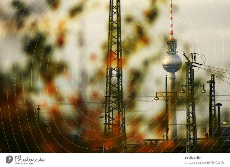Fernsehturm Berliner Fernsehturm Alexanderplatz Hauptstadt Deutschland Stadt Wahrzeichen verstecken Versteck Tiefenschärfe Textfreiraum Menschenleer Herbst