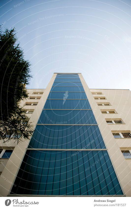 Schöner Wohnen Himmel weiß Baum blau Stadt Haus Wand Fenster Mauer Gebäude Architektur Hochhaus Fassade modern ästhetisch