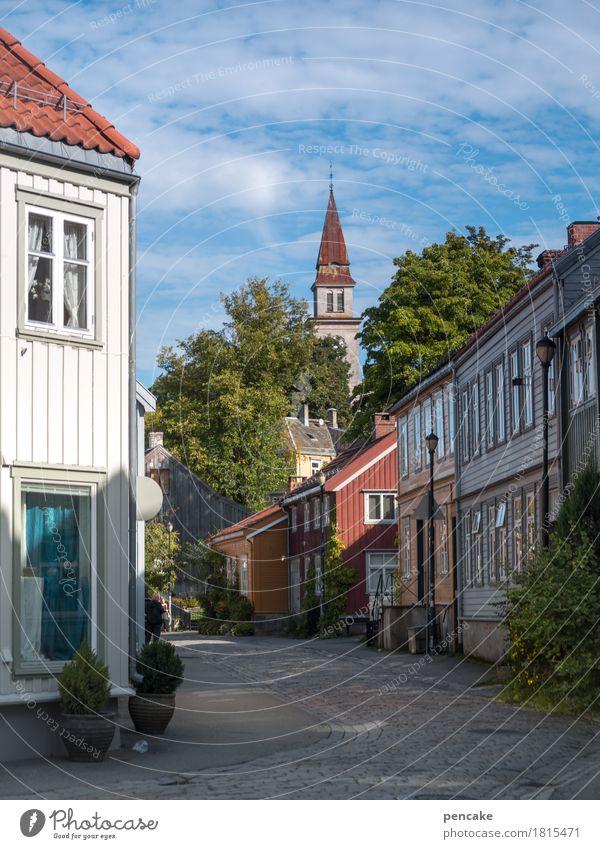 nordic wohnen Baum Haus Holz Gebäude Häusliches Leben Kirche Europa Schönes Wetter Altstadt Stadtzentrum gemütlich Skandinavien Norwegen Holzhaus Trondheim