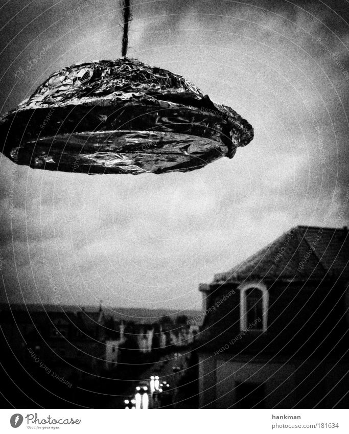Scully... ich hab den Faden gesehen Schwarzweißfoto Außenaufnahme Abend Kontrast Fortschritt Zukunft High-Tech Neugier Begeisterung Euphorie Todesangst