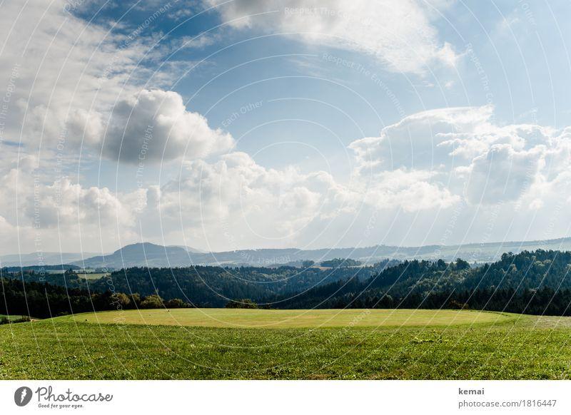 Flur und Wald Himmel Natur Pflanze blau grün Landschaft Erholung Wolken ruhig Ferne Berge u. Gebirge Umwelt Leben Herbst Freiheit