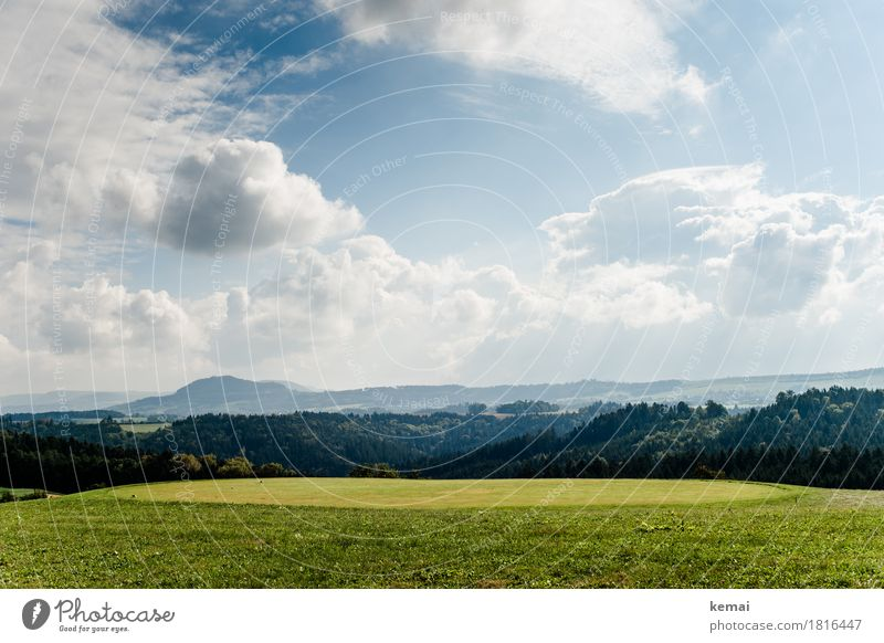 Flur und Wald Himmel Natur Pflanze blau grün Landschaft Erholung Wolken ruhig Ferne Wald Berge u. Gebirge Umwelt Leben Herbst Freiheit