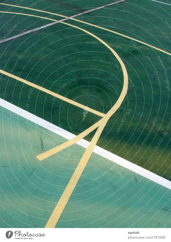 Abstraktion Sportiv grün weiß gelb Bewegung Spielen Linie Freizeit & Hobby Kraft Platz Bodenbelag Ball Spielfeld Sportveranstaltung Tennis Basketball