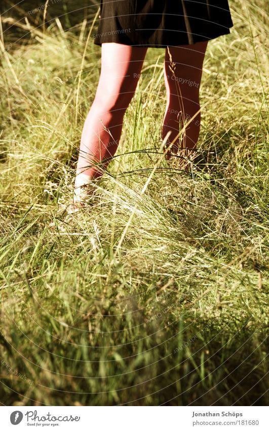 Rotkäppchen Mensch Natur Jugendliche grün Einsamkeit schwarz Erwachsene feminin Gras Junge Frau Stil Beine rosa 18-30 Jahre warten stehen
