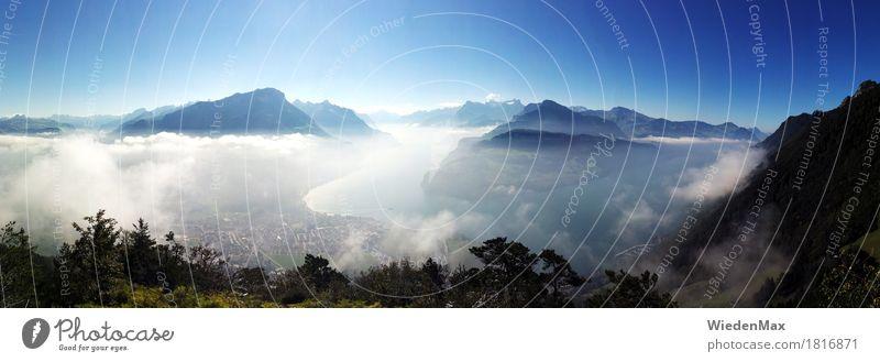 Vierwaldstätter See Himmel Natur blau Sommer Sonne Landschaft Erholung Ferne Berge u. Gebirge natürlich Glück außergewöhnlich Freiheit Stimmung träumen