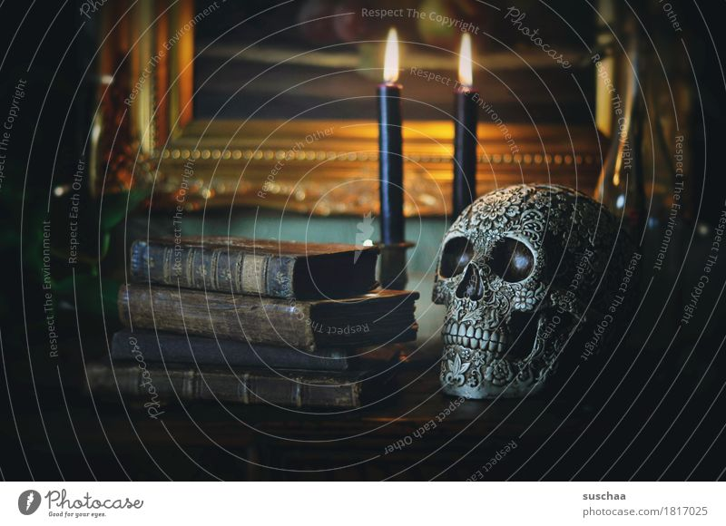 hex hex ... Schädel mystisch Zauberei u. Magie Buch lesen Studium Bildung Hexe Ritual Tradition Religion & Glaube Volksglaube Halloween alt retro Kerze