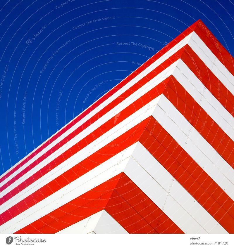 Amerika blau rot Wand Mauer Erde Metall Linie elegant Fassade Ordnung Design modern Erfolg ästhetisch Perspektive Streifen