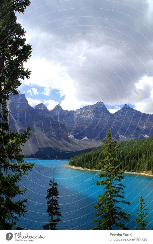 oh canada Natur Landschaft Wasser Wolken Herbst Felsen Berge u. Gebirge Gipfel Schneebedeckte Gipfel See frei wild blau grün weiß Glück Begeisterung ästhetisch