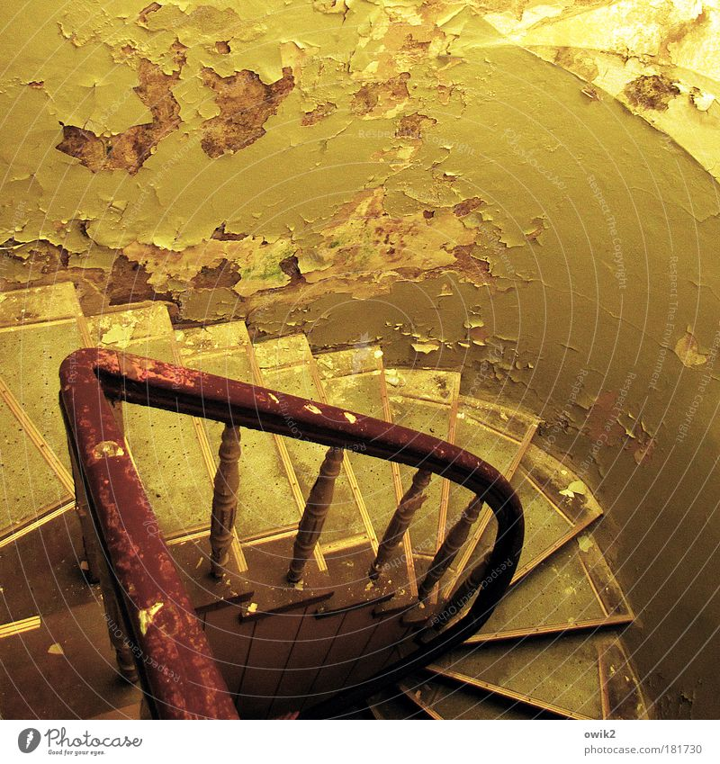 Abgang Bauwerk Gebäude Architektur Innenarchitektur Treppenhaus Holz Stein Betonwand verputzt Putz Putzfassade Ölsockel Mauer Wand Treppengeländer Stabilität