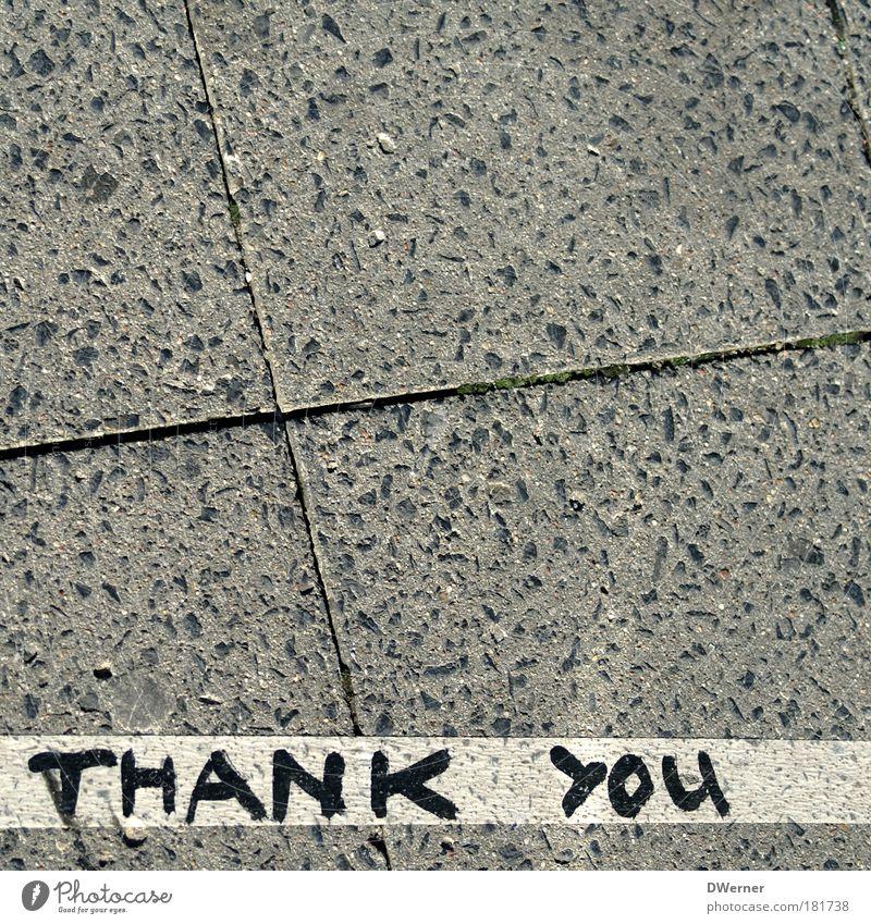 THANK YOU Lifestyle Stil Design Kunst Künstler Kunstwerk Kultur Mauer Wand Fußgänger Stein Zeichen Graffiti Kommunizieren liegen außergewöhnlich eckig positiv