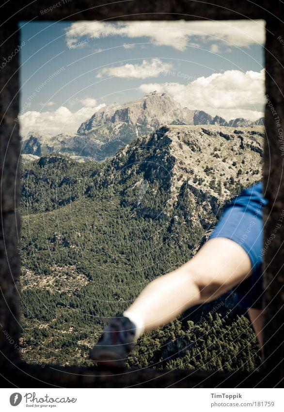 Die dicken Kinder von Mallorca Himmel Ferien & Urlaub & Reisen Wolken Berge u. Gebirge Fuß Beine wandern Felsen Aussicht Hügel Gipfel Leggings Bergwanderung