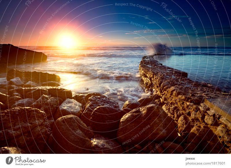 Tide Himmel Natur alt blau Sommer Wasser weiß Sonne Meer gelb Wand Küste Mauer braun Felsen orange