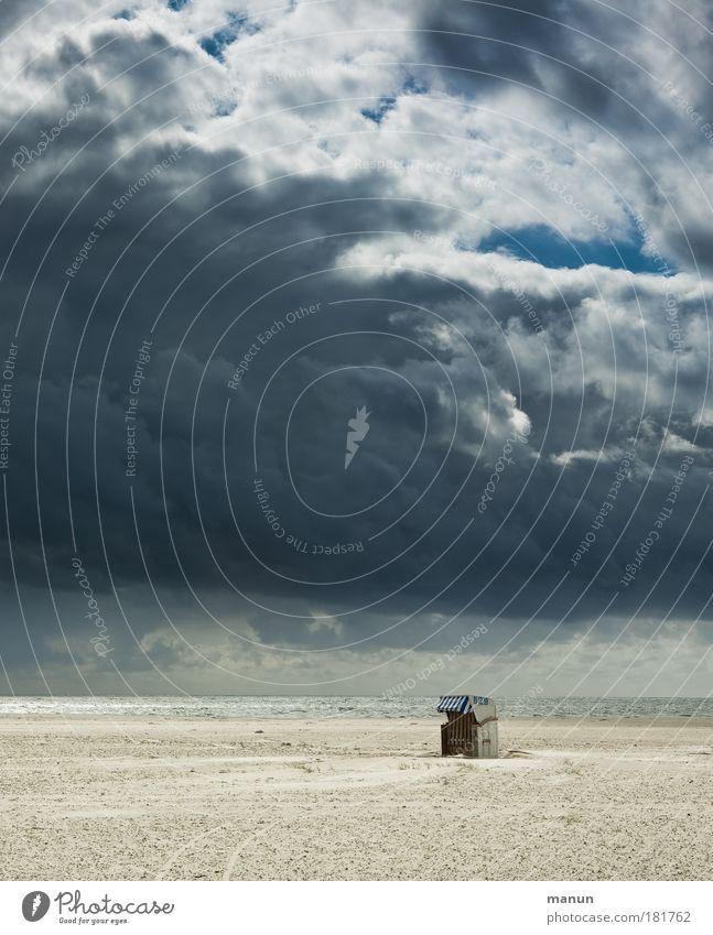 Sturmfront Natur Wasser Himmel Meer Sommer Strand Ferien & Urlaub & Reisen ruhig Wolken Einsamkeit Ferne dunkel Erholung Herbst Landschaft Küste