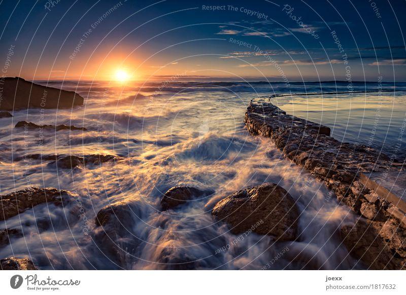 Praia das Azenhas do Mar Himmel Natur Ferien & Urlaub & Reisen blau Sommer Wasser Sonne Landschaft Ferne gelb braun orange Horizont Wellen frisch Idylle