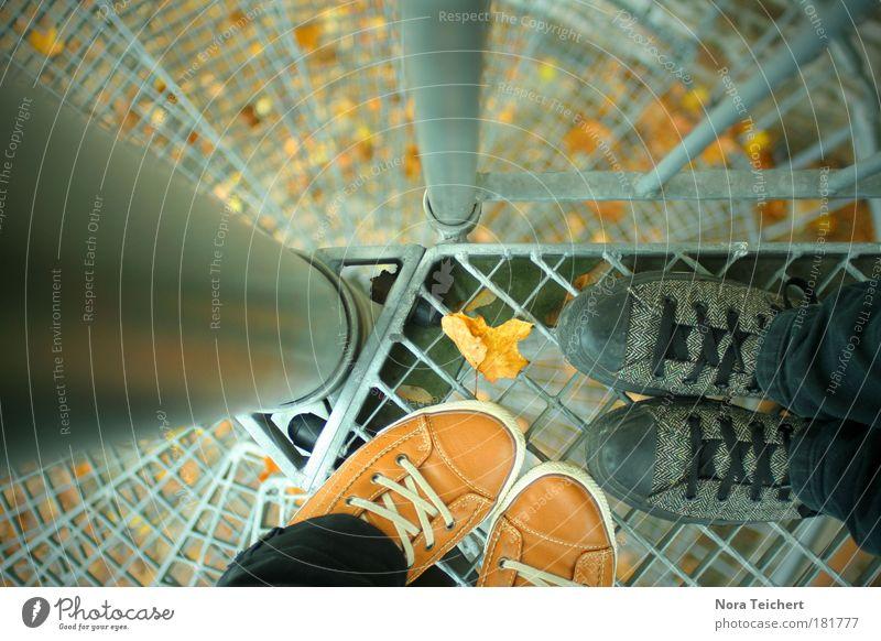 Herbstblick Mensch schön Gefühle träumen Stimmung Fuß Zeit Schuhe warten Treppe frei ästhetisch Fröhlichkeit verrückt stehen Idee