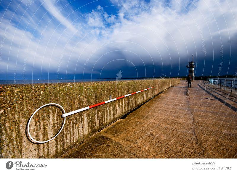 Lighthouse #1 Natur blau rot Ferien & Urlaub & Reisen Sonne Meer Farbe Einsamkeit schwarz ruhig Ferne gelb Erholung Umwelt dunkel Leben