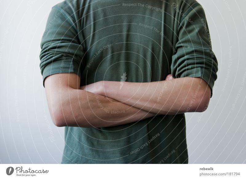 Du kommst hier net rein Farbfoto Gedeckte Farben Oberkörper Vorderansicht Dienstleistungsgewerbe Mittelstand Karriere Erfolg maskulin Brust Arme 1 Mensch