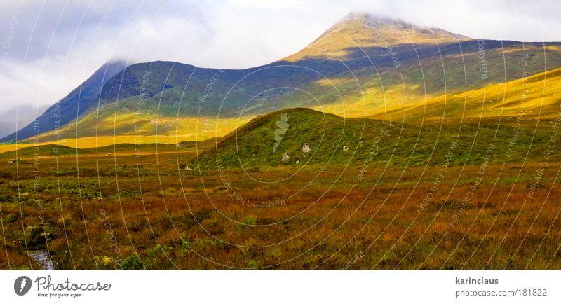Herbst Schottland Berge Ferien & Urlaub & Reisen Tourismus Berge u. Gebirge Umwelt Natur Landschaft Himmel Wolken Klima Wetter Hügel Gipfel Highlands Farbe