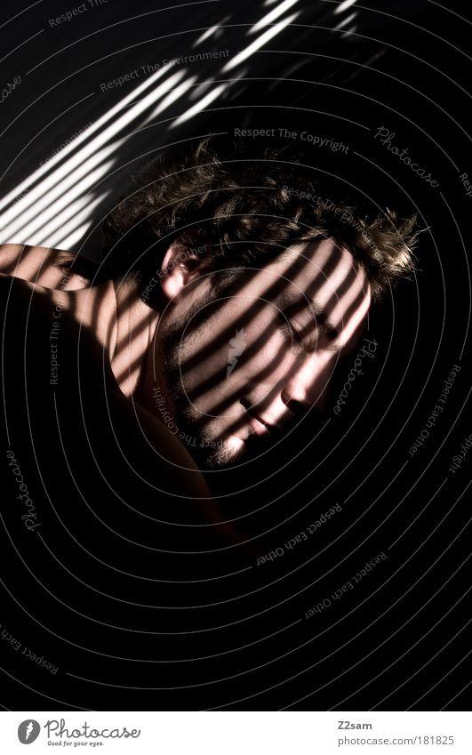 langschläfer Mensch Jugendliche ruhig Erwachsene Haus Gesicht Erholung Kopf Haare & Frisuren träumen Zufriedenheit blond Haut maskulin schlafen Streifen