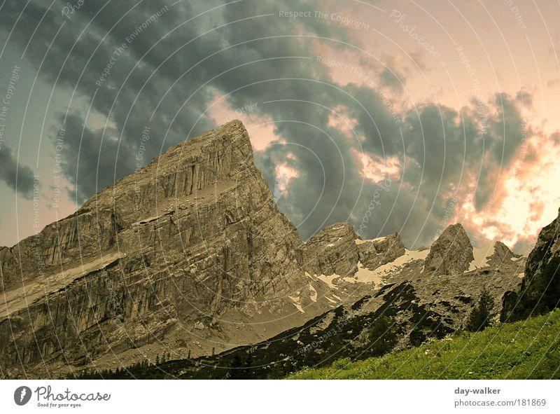 Abends am Watzmann Natur grün blau rot Sommer Wolken kalt Gras Berge u. Gebirge Landschaft braun rosa Wetter Alpen Gipfel Berchtesgaden