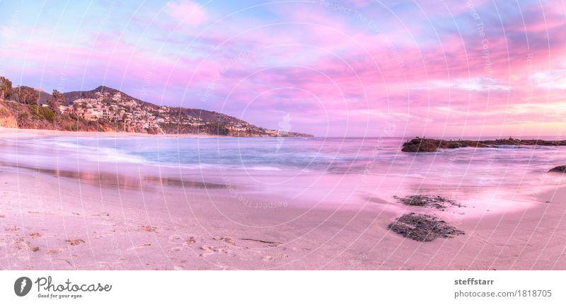 Sonnenuntergang von Treasure Island Beach Natur blau Sommer Meer Landschaft rot Wolken Strand Küste rosa Erfolg violett Gelassenheit friedlich Kalifornien