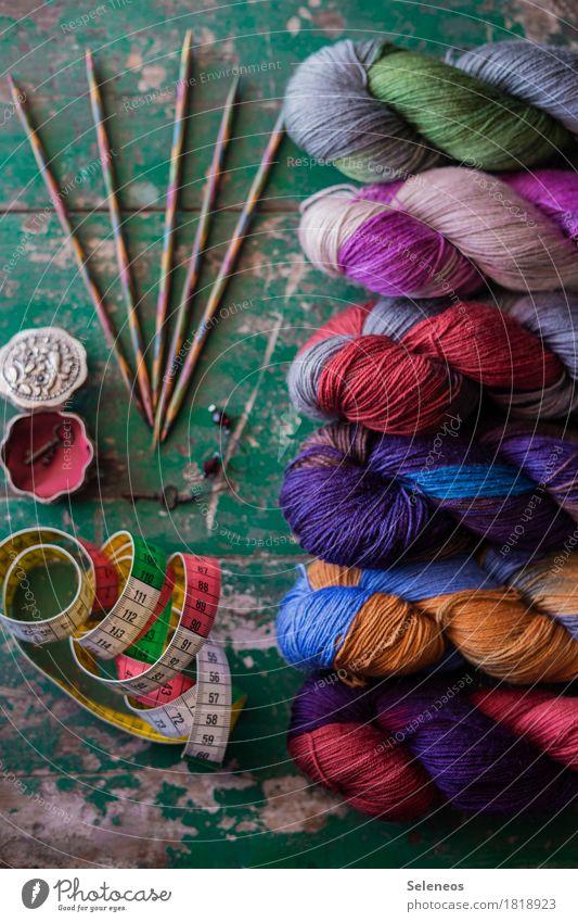 Socken in Arbeit Erholung ruhig Freizeit & Hobby Zufriedenheit Wohlgefühl Basteln Wolle Handarbeit stricken Maßband Stricknadel