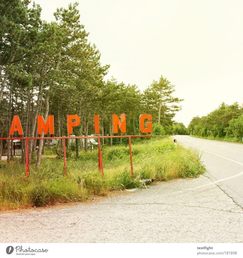 das hat nichts zu tun mit kunst Baum Sommer Ferien & Urlaub & Reisen Wiese Gras Tourismus trist Sträucher gut trashig Camping Sommerurlaub hässlich Wohnwagen