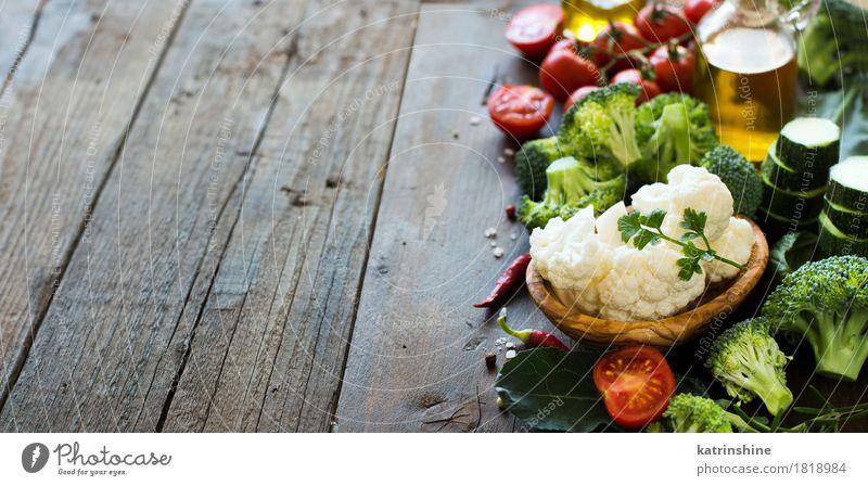 Frischer grüner Brokkoli und Gemüse Sommer rot Blatt dunkel gelb Essen natürlich Gesundheit frisch Tisch Kräuter & Gewürze Küche Jahreszeiten Bauernhof