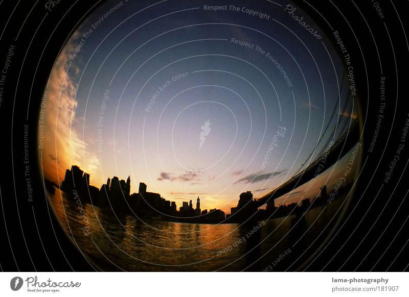 skyline Lomografie Himmel Fischauge Nacht Stimmung Erde Brooklyn Küste Architektur Hochhaus Horizont Haus Brücke USA rund Romantik