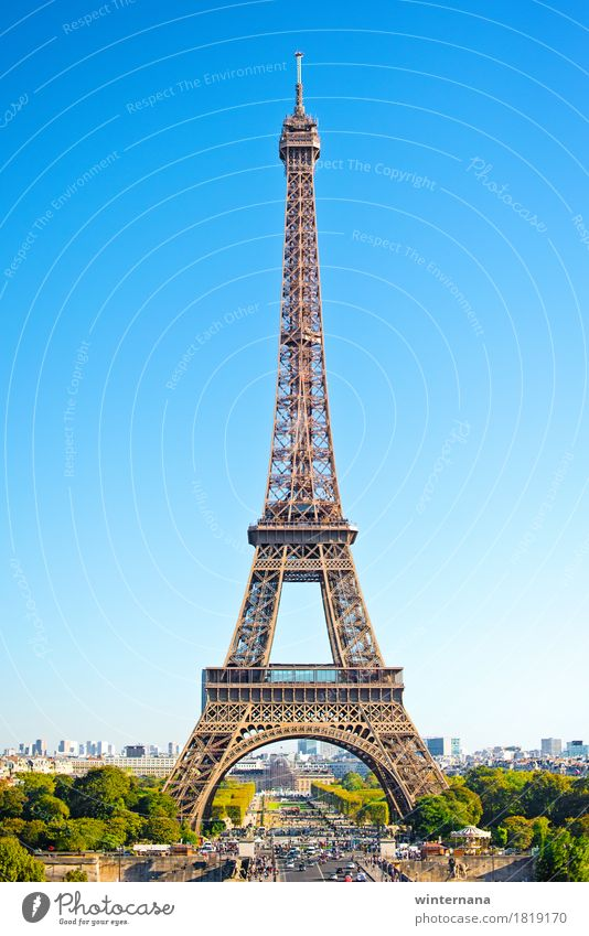 Eiffelturm Umwelt Erde Himmel Schönes Wetter Garten Park Hauptstadt Turm Tour d'Eiffel Straße blau braun mehrfarbig grün Coolness Erfolg Kraft Tatkraft