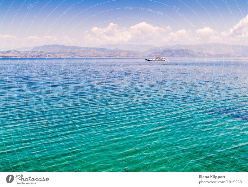 Mittelmeer Umwelt Natur Landschaft Wasser Himmel Wolken Horizont Sommer Wetter Wellen Meer Korfu Griechenland Europa Schifffahrt Erholung