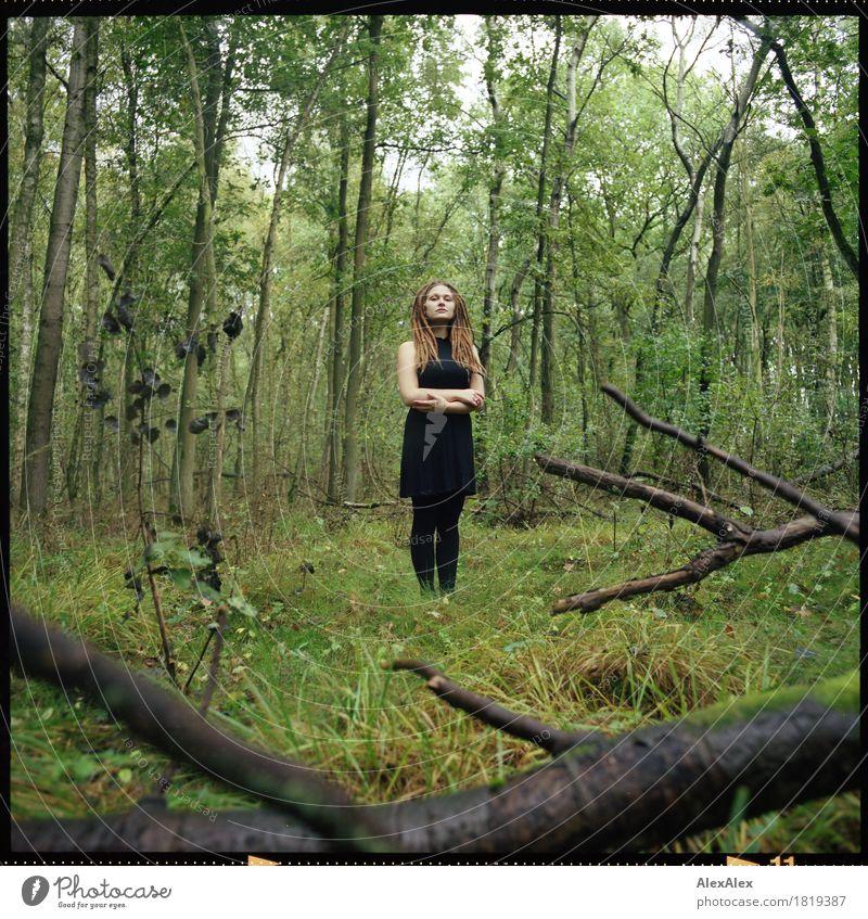 wild im Wald harmonisch Erholung Ausflug Junge Frau Jugendliche Körper 18-30 Jahre Erwachsene Natur Landschaft Pflanze Schönes Wetter Ast Sträucher Kleid