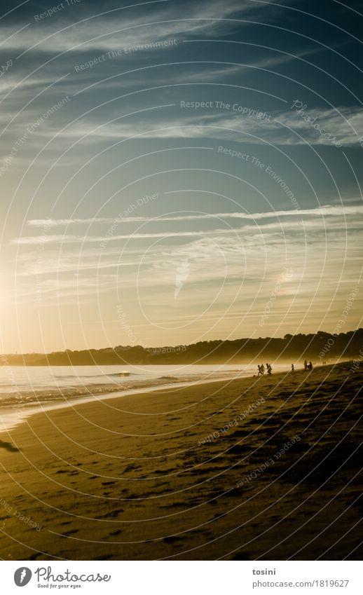 Am Meer V Mensch Himmel Natur Ferien & Urlaub & Reisen blau Wasser Sonne Erholung Wolken Strand Beleuchtung Sand Wellen gold Sehnsucht