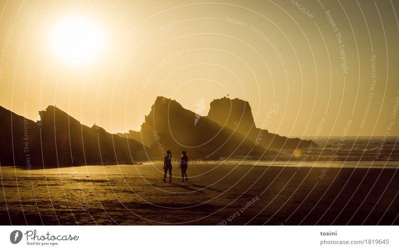 Golden IV Natur Ferien & Urlaub & Reisen schön Wasser Sonne Meer Erholung Strand Beleuchtung Paar Sand Felsen Horizont Wellen gold Sehnsucht