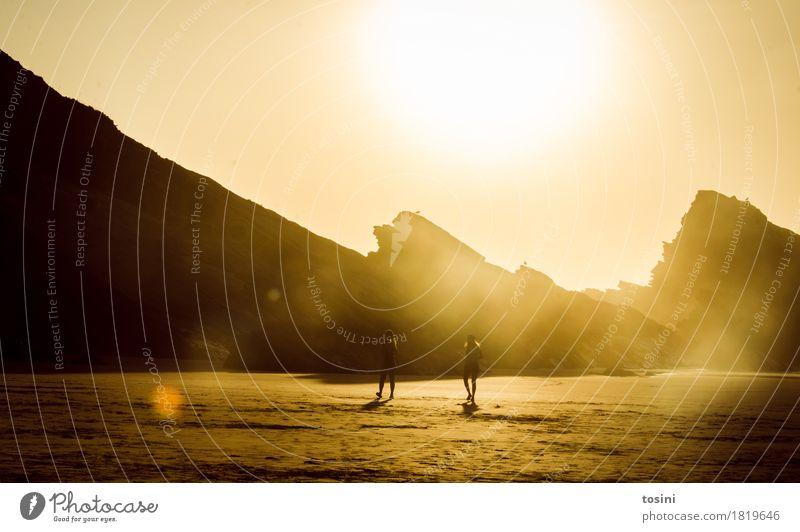 Golden III Natur Ferien & Urlaub & Reisen schön Wasser Sonne Meer Erholung Strand Berge u. Gebirge Beleuchtung Sand Felsen Zusammensein Wellen gold Sehnsucht