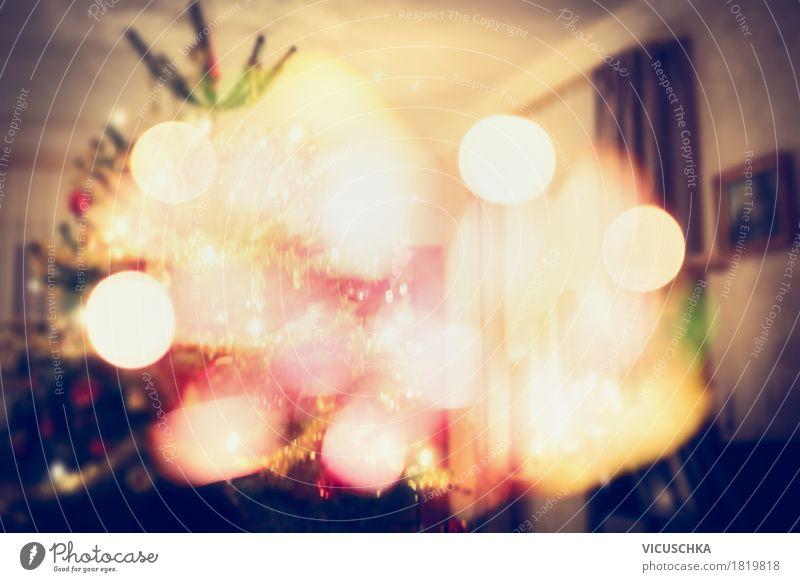 Weihnachtsbaum im Wohnzimmer mit Bokeh Weihnachten & Advent Winter Wärme Beleuchtung Innenarchitektur Hintergrundbild Lifestyle Stil Feste & Feiern Design