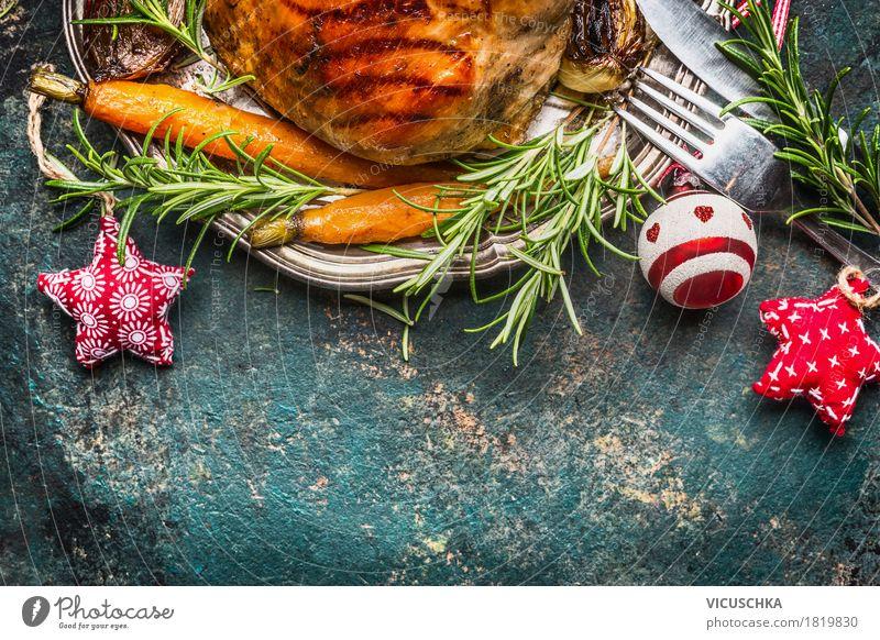 Weihnachtsessen Lebensmittel Fleisch Gemüse Kräuter & Gewürze Ernährung Festessen Geschirr Besteck Stil Design Tisch Feste & Feiern Weihnachten & Advent