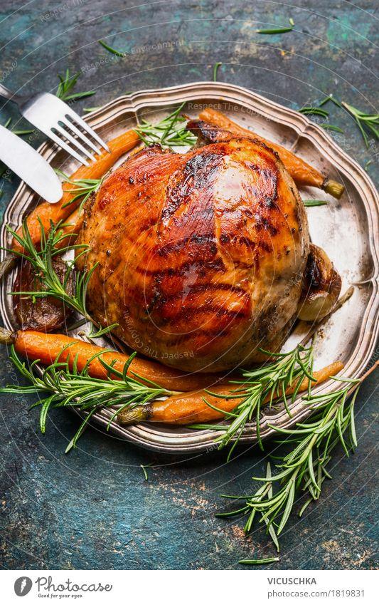 Schinkenbraten Lebensmittel Fleisch Gemüse Kräuter & Gewürze Ernährung Mittagessen Abendessen Festessen Teller Besteck Stil Design Tisch Restaurant Roasted