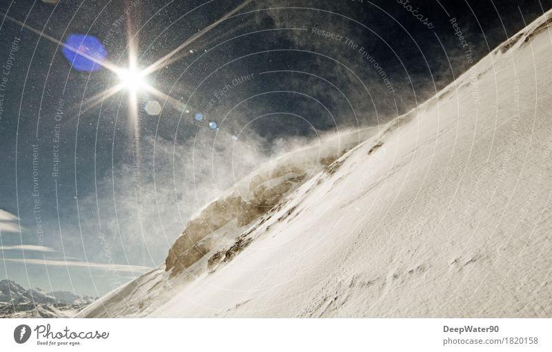 Schneewolke Ausflug Abenteuer Freiheit Winter Berge u. Gebirge Wintersport Umwelt Natur Landschaft Urelemente Luft Himmel Wolken Horizont Sonne Sonnenlicht