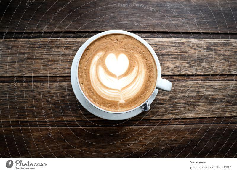 Es ist Zeit Erholung ruhig Lebensmittel Zufriedenheit Ernährung genießen Getränk Kaffee trinken Wohlgefühl harmonisch Tasse Latte Macchiato Heißgetränk