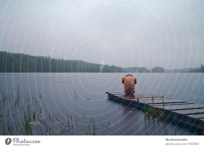 60° Nord Männlich Regen Körper Mensch maskulin Mann Erwachsene Natur Landschaft Wasser Wolken schlechtes Wetter Wald See frieren sportlich außergewöhnlich nackt