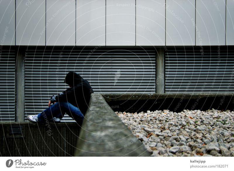 stein und beton auf dem balkon Farbfoto Gedeckte Farben Außenaufnahme Textfreiraum oben Tag Dämmerung Licht Schatten Kontrast Totale Blick nach unten Mensch