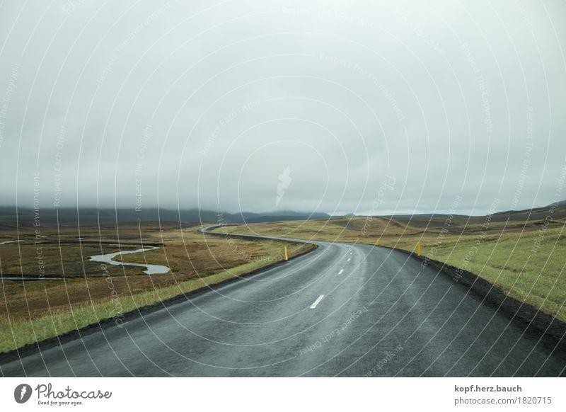 Frei(e)fahrt grün Landschaft Einsamkeit Wolken Straße Wege & Pfade Freiheit grau Horizont trist Perspektive Beginn Abenteuer fahren Ende Island