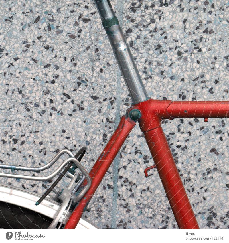 Gefährt/e rot Fahrrad Beton Fahrzeug Schweißnaht